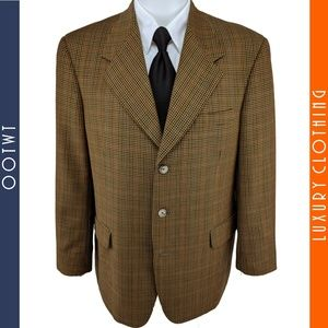 TOM JAMES 42R Innocenti Windowpane Gold Sport Coat